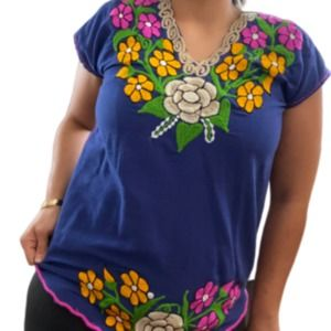 Women's L/XL Mexican Embroidered Blouse Boho